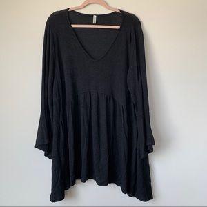 Emerald Black Bell Sleeve Babydoll Blouse Size 2X